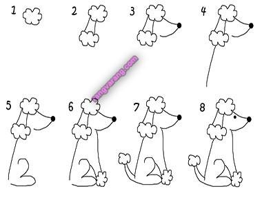 آموزش مرحله ای نقاشی سگ برای کودکان
