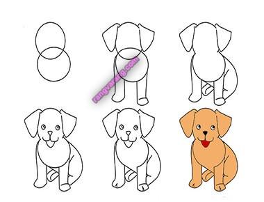 نقاشی سگ برای کودکان با آموزش تصویری