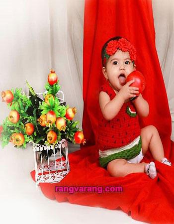 لباس شب یلدا کودکان- لباس بافتنی با تم یلدا