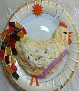 تزیین پشمک به شکل خروس