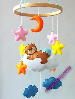 ساخت آویز نمدی ماه و ستاره و خرس خوش خواب