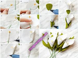 آموزش دسته گل با گلهای نمدی