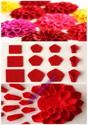 آموزش تصویری گلهای نمدی + الگو