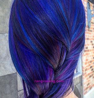 رنگ مو سال 2020- ترکیب بنفش و آبی