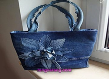 کیف لی دست دوز ساده با گلهای پارچه ای