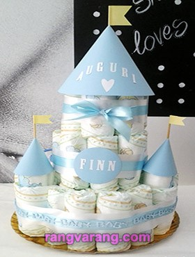 Decorate a boy's diaper cake