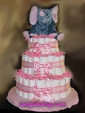 تزیین کیک پوشکی با عروسک