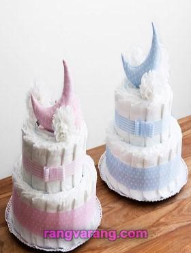 تزیین کیک پوشک برای دو قلوها