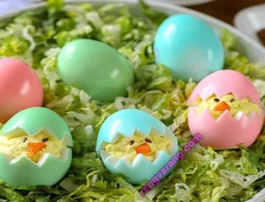 مدل تزیین تخم مرغ آب پز  رنگ شده برای کودکان