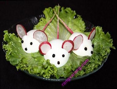 مدل تزیین تخم مرغ آب پز  به شکل موش