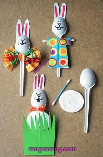 عروسک با قاشق یک بار مصرف به شکل خرگوش
