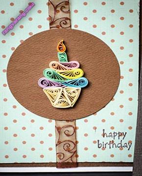 کارت دست ساز تولد با تزیین ملیله کاغذی